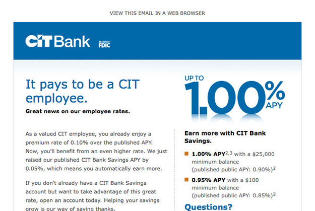 CIT Bank Responsive Email